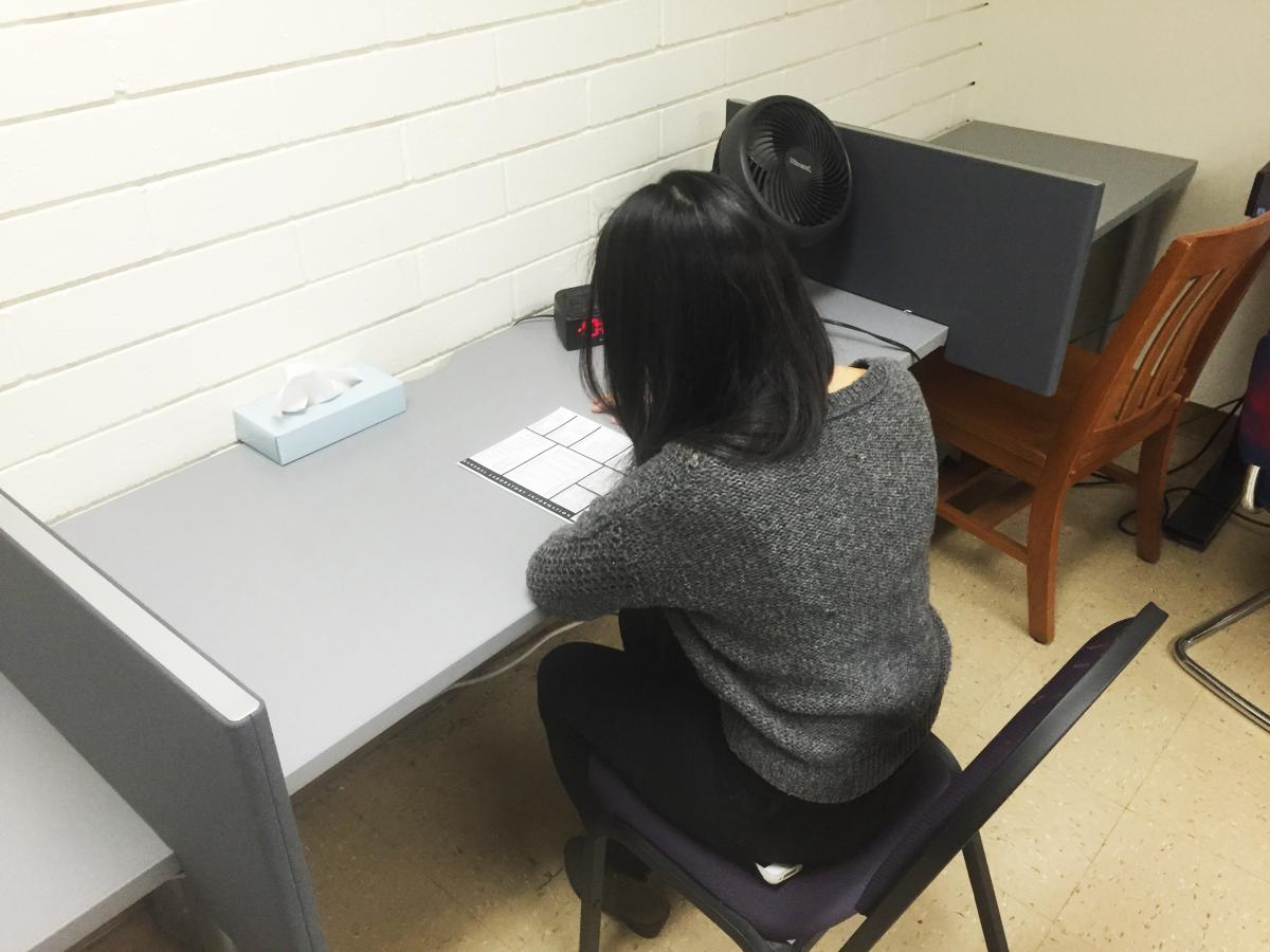 A student is sitting down, facing away, taking an exam in the Wheeler proctoring suite.