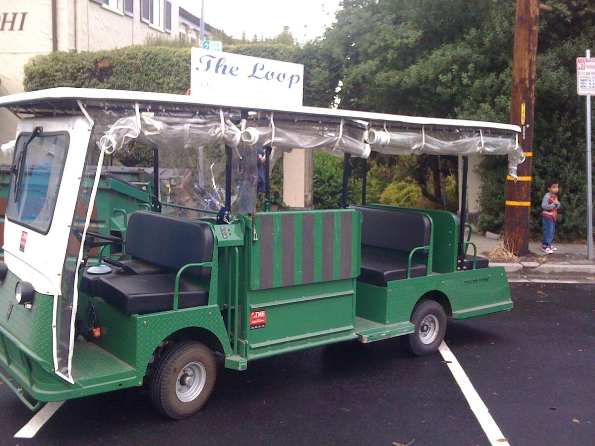 The loop golf cart parked