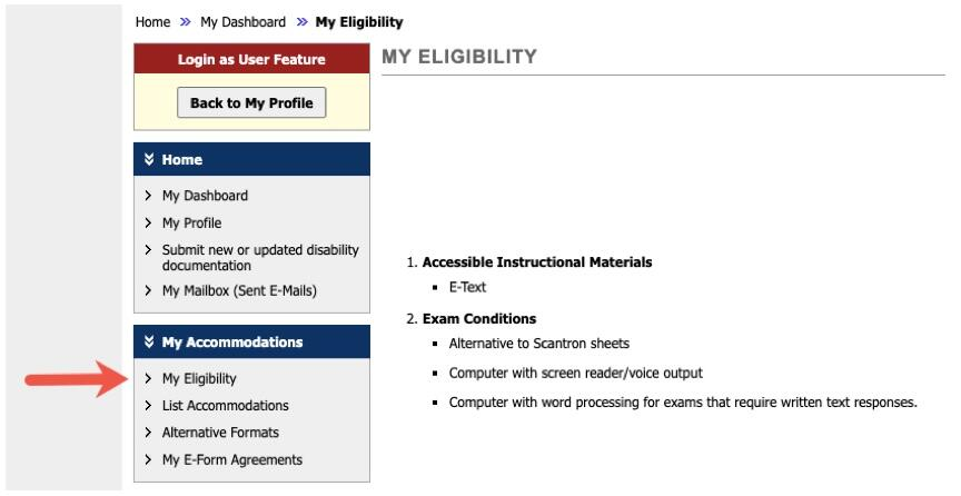 "This image shows a red arrow pointing at the option for ""My Eligibility."""